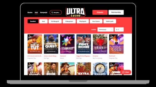 UltraCasino arvostelu nostaa esiin kasinon pelit